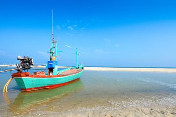 Traditional Thai fisherman boats on the beach,