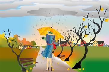 jesienny spacer w deszczu