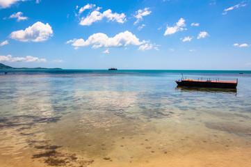 tropical sea, coast and boat in Koh Samui, Thailand