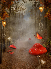 Wall Mural - Enchanted nature series - autumnal pathway with red mushrooms