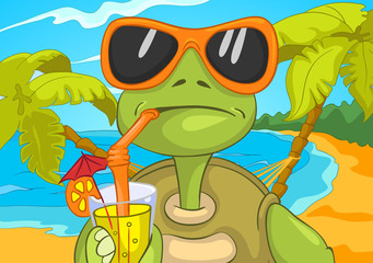 Funny Turtle Drinking Cocktail.