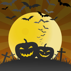 Halloween pumpkins and bats background