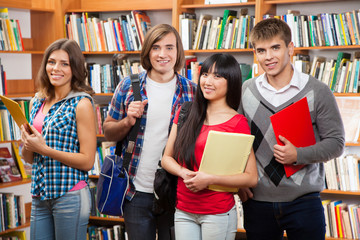 Group of students in a library