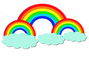 rainbow and clouds in the sky vector