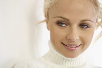 Closeup portrait of blonde woman