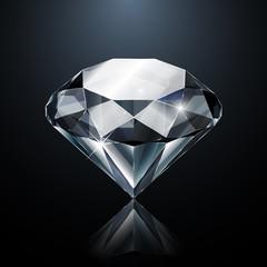Dazzling diamond on black background with reflection