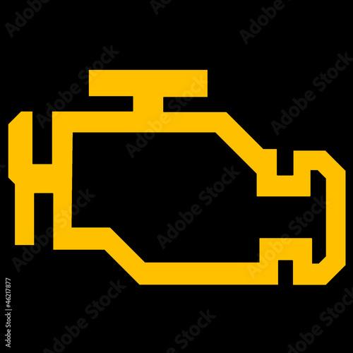 Check Engine Or Malfunction Car Symbol On Black Background Stock
