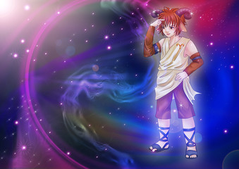 Manga style of zodiac sign on cosmic background, Aries