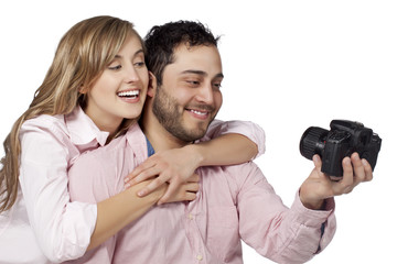 happy couple taking picture