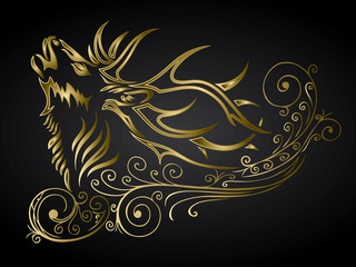 Golden ornamented deer decoration