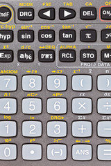 buttons of scientific calculator with mathematical function