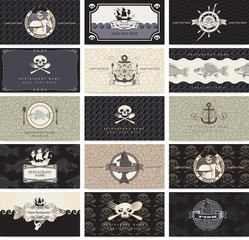 set of business cards for the pirate bar
