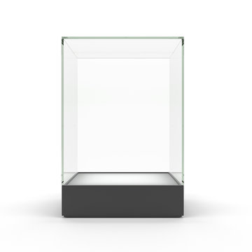 Empty glass showcase for exhibit isolated