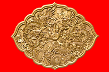 Chinese golden twin dragons