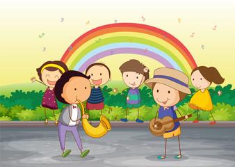 Door stickers Rainbow kids