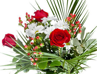 bouquet with chamomiles and roses