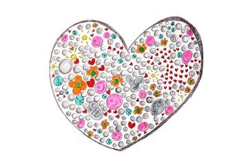 Herz, abstrakte Schüler-Zeichnung
