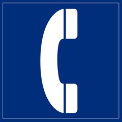 Papier Peint - Schild blau - Telefon