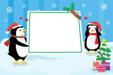 Christmas penguin design background