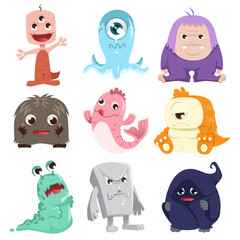 Self adhesive Wall Murals Creatures Cute monsters characters