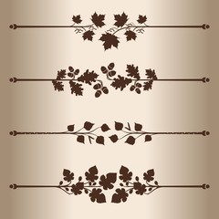 Elements for design - decorative line dividers. Floral Pattern.