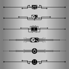 Elements for design - decorative line dividers. Computer.