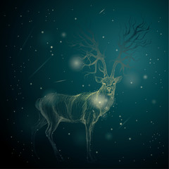 Shining Deer on the night sky / Surreal blue background