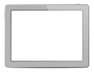 Light Grey Tablet Computer On White Background