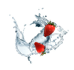 Printed roller blinds Splashing water Strawberry In Water