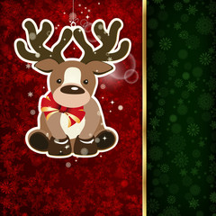 Background with Christmas decoration and snowflakes