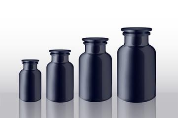 set of bottles blacks