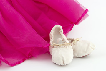 Ballet skirt with ballet shoes of a girl