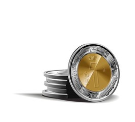 mexican peso coins vector illustration in color financial theme