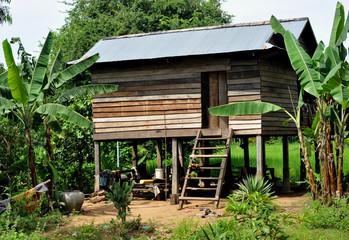 village house on stilts in cambodia