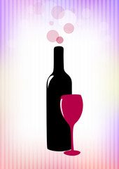 Bottle of red wine and glass on pink-violet background.