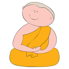 buddhist monk cartoon hand drawn