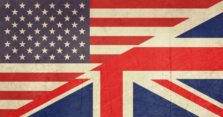 Fototapete - Grunge American and British flag