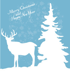 vector christmas card with deer and tree