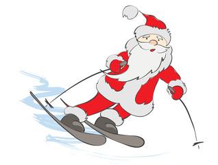 Funny skier Santa