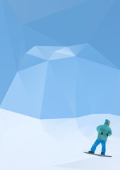 snowboarder on mountains, vector illustration