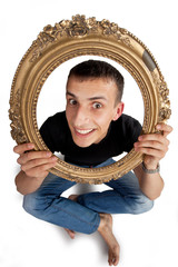 Man with picture frame