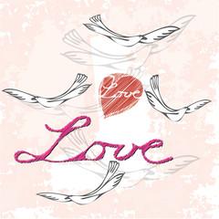 Valentin - retro - Liebe - Herz - Taube