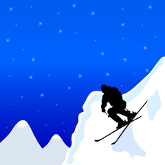 skiing man in winter vector illustration