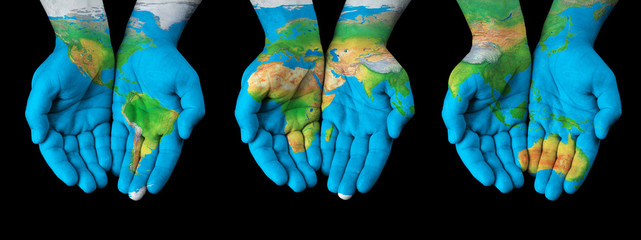 Wall Murals Northern Europe Map painted on hands - concept of having the world in our hands