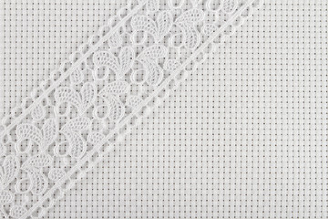 fabrics for embroidery a cross, lace and ribbons