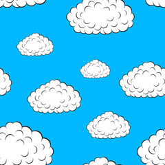 Printed roller blinds Heaven clouds seamless wallpaper, vector illustration