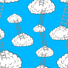 Poster Hemel Clouds with stairs, seamless wallpaper