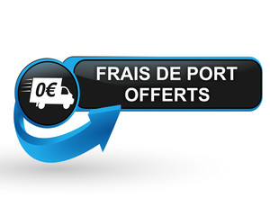 Fototapete - frais de port offerts sur bouton web design bleu