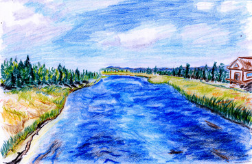 Hand-painted river