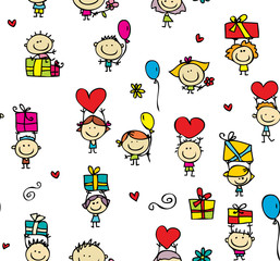 Happy doodle chidren with gifts seamless background